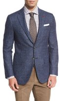 Isaia Melange Two-Button Sport Coat, Blue/Charcoal