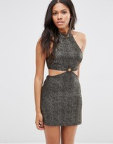 Motel Vail Dress With Cut Out Waist In Shimmer Fabric