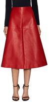 Valentino Leather Flared Midi Skirt