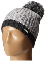 MICHAEL Michael Kors Color Block Rib/Cable Hat with Pom Caps