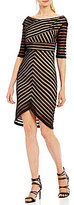 Jax Off-The-Shoulder Illusion Stripe Sheath Dress