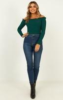 Showpo Fresh As A Daisy Bodysuit in emerald rib - 4 (XXS) Long Sleeve