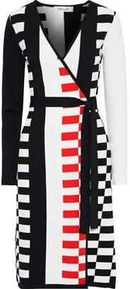 Diane von Furstenberg Enzo Intarsia-knit Wrap Dress
