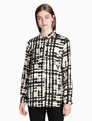 Calvin Klein Solid V-Neck Long Sleeve Top