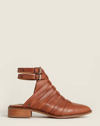 Steven by Steve Madden Cognac Charlot Ankle Strap Leather Booties