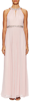 Vince Camuto Embellished Collar Pleat Maxi Dress