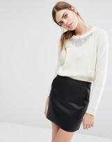 Suncoo Pearl Jewelled Neckline Sweater