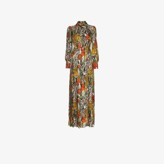 Gucci Tiger print silk maxi shirt dress
