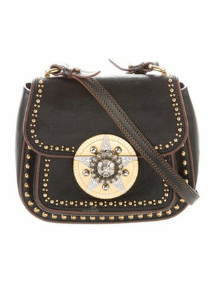Miu Miu Embellished Leather Crossbody Bag Black