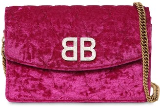 Balenciaga Bb Quilted Velvet Shoulder Bag
