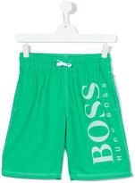Boss Kids - logo print swim shorts - kids - polyester - 14 yrs