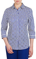 Allison Daley 3/4 Sleeve Stripe Button-Front Shirt