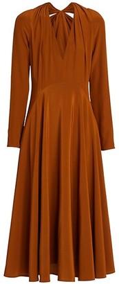 Victoria Beckham Bow-Back Silk Flare Dress