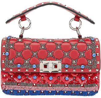 Valentino Garavani Spike It Small Embellished Shoulder Bag, Red