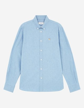 MAISON KITSUNÉ Chambray Fox Head Embroidery Classic Shirt - 39/S