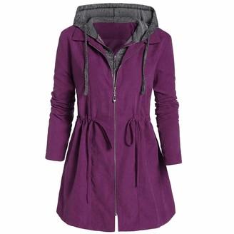 Younthone Ladies' Large Size Jacket Fashion Women Zipper Patchwork Winter Hooded Zipper Spacesuit Plus Velvet Thick Coat Warm Cotton Coat Elastic Waist Casual Outdoor Sports Jacket Black Wine