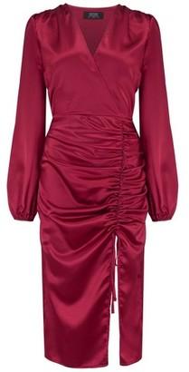 Dorothy Perkins Womens Girls On Film Burgundy Ruched Midi Dress