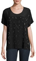 Eileen Fisher Falling Star Beaded Silk Tee, Black, Plus Size