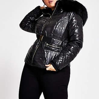 River Island Plus black faux fur high shine padded coat