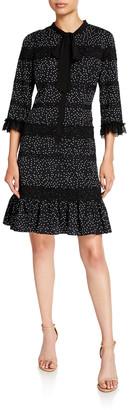 Shani Polka Dot 3/4-Sleeve Dress with Bow Tie