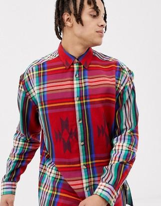 Asos DESIGN oversized geo-tribal check shirt in red
