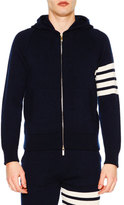 Thom Browne Zip-Front Hoodie Sweatshirt w/Striped Arm, Navy