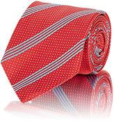 Barneys New York MEN'S DIAGONAL-STRIPED & MICRO-DOT NECKTIE-RED