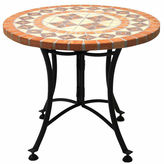 OUTDOOR INTERIORS Outdoor Interiors 24 in. Terra Cotta Mosaic End Table with Metal Base