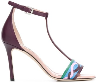Emilio Pucci Vahine print 90mm T-bar sandals