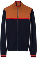 Ps By Paul Smith Intarsia Knit Merino Full Zip Top, Navy