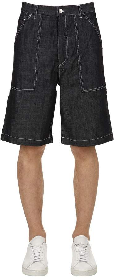 Kenzo Cotton Blend Denim Shorts