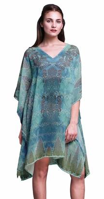 Phagun Blue Floral & Paisley Ladies Plus Size Kaftan Summer Wear Beach Coverup Kimono Kaftan-XL-3X