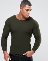 Asos Muscle Fit Ribbed Sweater in Khaki
