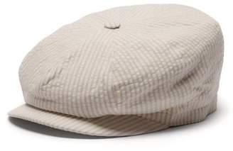 Lock & Co Hatters Amalfi Striped Linen Seersucker Cap - Mens - Brown White