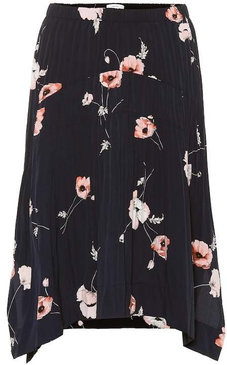 Vince Pleated floral midi skirt