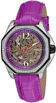 Stuhrling Original Women's 231S.1115Q54 Aquadiver Nemo Rose Automatic Skeleton Purple Leather Strap Watch