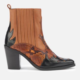Kurt Geiger London Women's Damen Leather Western Style Boots - Tan Comb
