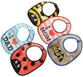Acme 5 Piece Toddler Drooler Bibs Waterproof Backing Baby Bibs with Snap Buttons Random Color