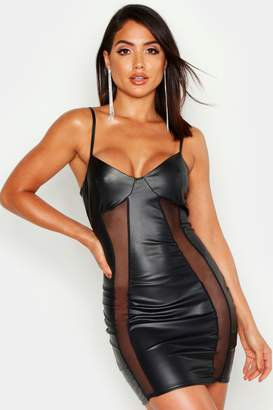 boohoo Faux Leather Mesh Insert Cupped Bodycon Mini Dress