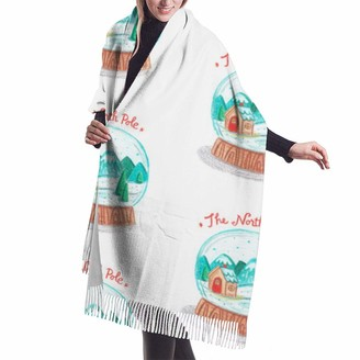 Asekngvo North Pole Snow Globe Shawl Wrap Winter Warm Scarf Cape Large Soft Cozy Cashmere Scarf Wrap Womans Warm Shawl Stole