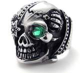 TEMEGO Jewelry Mens Crystal Stainless Steel Ring, Vintage Gothic Skull Band, Black Green