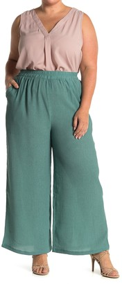 MelloDay Gauze Pull-On Wide Leg Pants (Plus Size)