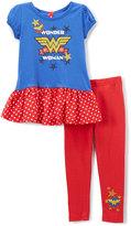 Children's Apparel Network Wonder Woman Navy Ruffle Tunic & Leggings - Toddler & Girls