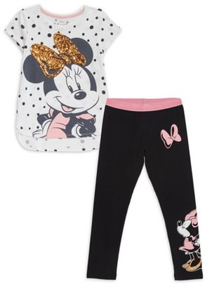Minnie Mouse Girls 4-18 Exclusive Sequin Graphic Tee and Legging, 2-Piece Outfit Set