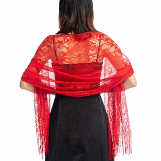 Ladiery Women's Floral Lace Scarf Shawl with Tassels Soft Mesh Fringe Wraps for Wedding Evening Party Dresses