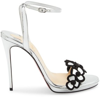 Christian Louboutin Pansy Queen Metallic Leather Ankle-Strap Sandals