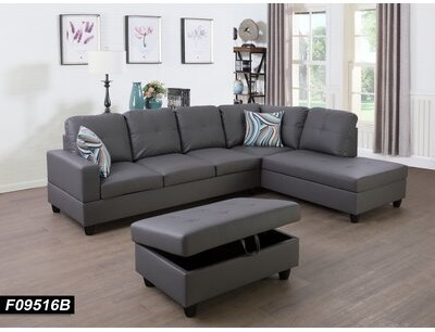 Ebern Designs Alyxander 103 Wide Faux Leather Right Hand Facing Sofa Chaise With Ottoman Fabric Dark Gray Shopstyle Sectionals