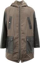 Drome fur-lined contrast panelled coat