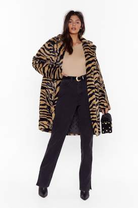 Nasty Gal Womens Unleash the Zebra Faux Fur Longline Coat - brown - M/L