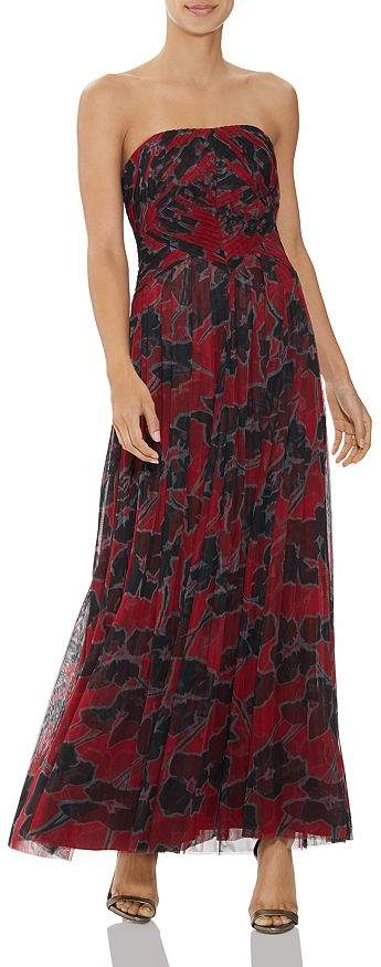 Halston Pleated Floral-Print Gown
